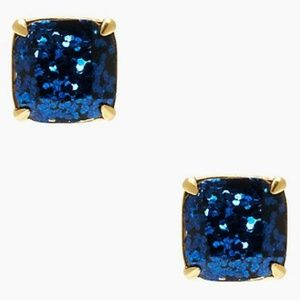 kate spade navy sparkle square stud earrings nwt